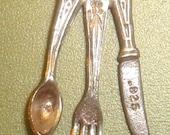 Vintage Sterling Estate FORK SPOON KNIFE Charm