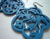 New - Twin Bird with Brass Earwire (Blue)