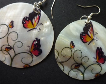 On Sale - Twin Butterflies on Natural Shell