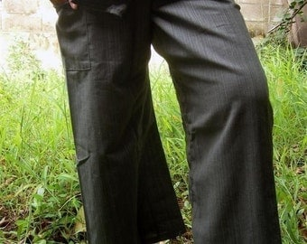 Striped dark grey CottoN THAI Fisherman Wrap Pants PERFECT for All Size ...Reserve for Chris Only