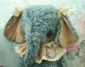 """RESERVED/ On hold----  OOAK shabby chic mohair circus elephant 12"""" - Molly"""