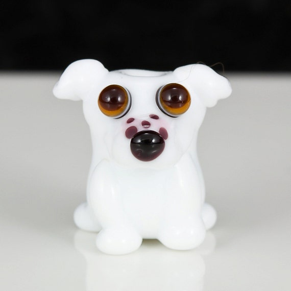 White Pit Bull Lampwork Dog Bead