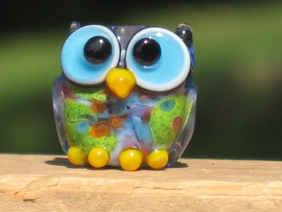 Summer Owl Lampwork Glass Bead