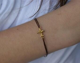 Gifts Under 15, Fleur de Lis Bracelet, Brown Cord Bracelet with Fleur de Lis, Mardi Gras