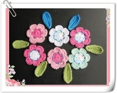 PATTERN crocheted flower and leaves applique