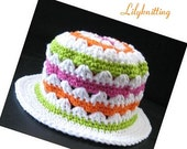 PATTERN in PDF -- Super easy crocheted baby cloche beanie hat strips flower (Cloche 13) -- 12 - 24 months and 2T - 4T