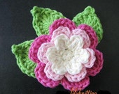 PATTERN in PDF -- Crocheted flower and leaves (Flower 20)