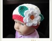 PATTERN in PDF Crocheted flapper beanie hat flower (flapper beanie 47) -- 6 - 9 months and 9 - 12 months