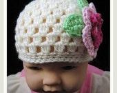 PATTERN in PDF Crocheted baby flapper beanie (flapper beanie 26) -- Newborn