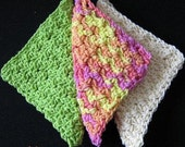 PATTERN  in PDF -- Easy Crochet dishcloth flat dish cloth, lace dishcloth, loose dish cloth, dishcloth -- Dishcloth 40