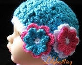 PATTERN in PDF crocheted flapper baby beanie with 2 flowers -- 0 - 3 months and 3 - 6 months