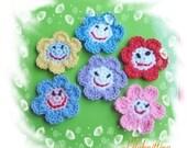 PATTERN in PDF crocheted flower applique -- Smile Face