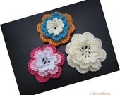 PATTERN in PDF Crocheted large layer flower applique