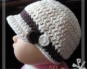 PATTERN in PDF Crocheted Visor Beanie (Visor Beanie 6) -- 0 - 3 months and 3 - 6 months