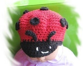PATTERN in PDF --- Crocheted ladybug cap in the size of 6 - 9 months and 9 - 12 months