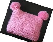 PATTERN in PDF Super Easy simple pattern Crocheted baby pom pom beanie flapper chunky hat -- Newborn -- (Flapper Beanie 82)