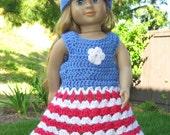 Pattern in PDF -- crocheted doll dress for American Girl, Gotz or similar 18 inches dolls (Doll Dress 16)