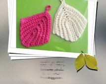 PATTERN crochet face scrubbie or facial cloth -- Leaf