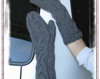 PATTERN in PDF -- knitted cable mittens