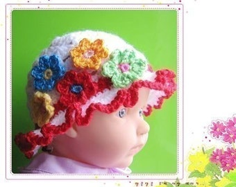 PATTERN crocheted baby beanie with a brim and 5 flowers -- 12 - 24 months and 2T - 4T