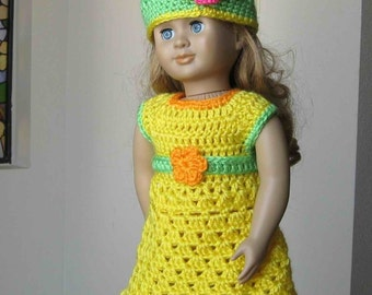 Pattern in PDF -- crocheted doll dress and belt for american girl, gotz or similar 18 inches dolls (Doll Dress 15)