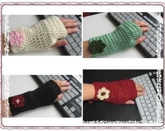 Pattern in PDF Crocheted fingerless gloves -- Crocheted Mittens 1