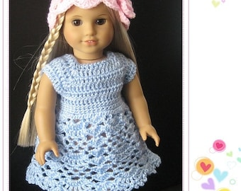 PATTERN in PDF -- Crocheted doll dress for American Girl, Gotz or similar 18 inches dolls -- Doll Dress 23