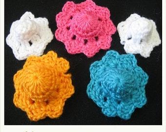 PATTERN in PDF -- Crocheted Hat applique Motif -- Flower 34