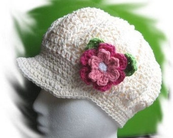 PATTERN in PDF Crocheted newsgirl/newsboy visor beanie/hat/cap with a large rose -- Lady size