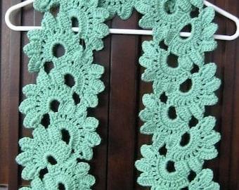 PATTERN in PDF Crocheted Scarf -- Shell Flower
