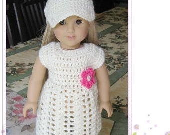 Pattern crocheted doll clothes dress for American Girl, Gotz or similar 18 inches dolls -- Doll Dress 9