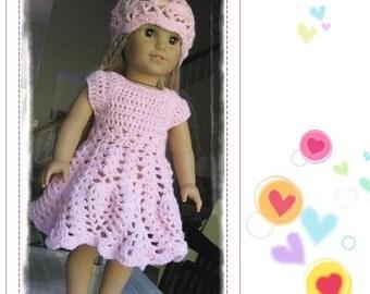 doll dress american girl doll dress PATTERN Crocheted doll dress for American Girl, Gotz or similar 18 inches dolls -- Doll Dress 12