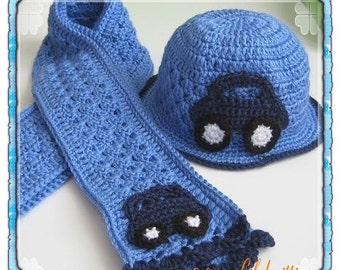 PATTERN in PDF -- crocheted baby scarf with a car applique -- (Scarf 10)