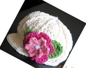PATTERN Crocheted newsgirl/newsboy visor beanie/hat/cap with a rose -- 0 - 3 months and 3 - 6 months