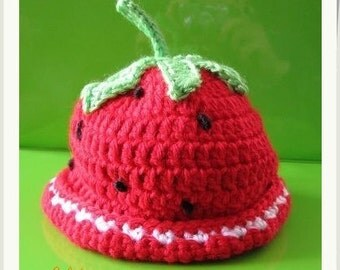 PATTERN in PDF Crocheted baby strawberry hat -- strawberry -- 6 - 9 months and 9 - 12 months