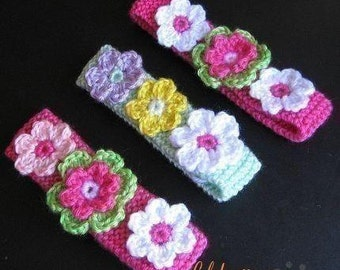 PATTERN in PDF -- Crocheted/Knitted flower headband in all sizes from newborn to adult
