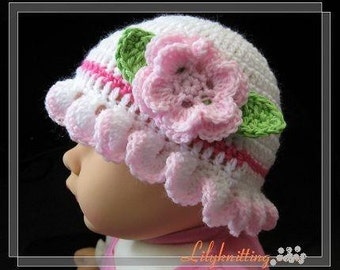 PATTERN in PDF crocheted baby Flower cloche beanie (cloche 8) -- 0 - 3 months and 3 - 6 months