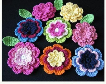 PATTERN in PDF -- crocheted large flower and leaf appliques -- flower-24