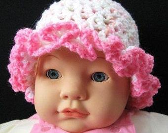 Pattern in PDF -- Crocheted baby cloche beanie hat (Cloche 19) -- Newborn