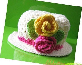 Pattern in PDF Crocheted baby cloche beanie hat (cloche 14) --  6 - 9 months and 9 - 12 months