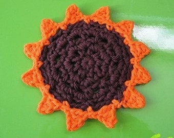 coaster pattern dish cloth PATTERN  Easy Crochet Coaster, washcloth, Flower, Applique hot pad, cup place -- Dishcloth 62