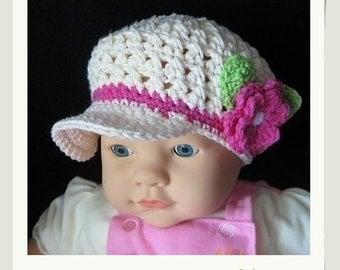 PATTERN in PDF crocheted Newsgirl/Newsboy Beanie  (Newsgirl Beanie 4) -- 0 - 3 months and 3 - 6 months