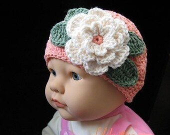 PATTERN in PDF Crocheted baby flapper beanie with a large rose flower (flapper beanie 29) -- 12 - 24 months and 2T - 4T