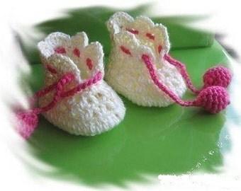 PATTERN in PDF Crocheted newborn baby maryjane booties (Baby booties 3)