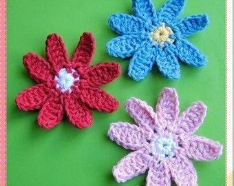 PATTERN in PDF Crocheted large flower applique - 8 petals