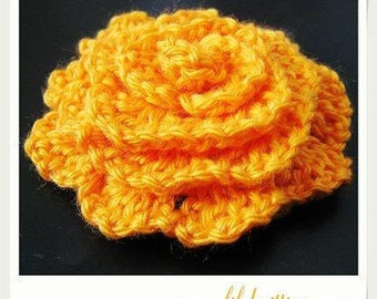 flower PATTERN crocheted flower applique, Motify, Rose Flower, large flower -- Flower 26