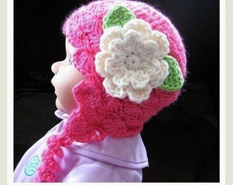 Pattern in PDF Crocheted baby earflap beanie hat (Earflap Beanie 6) -- 0  - 3 months and 3 - 6 months