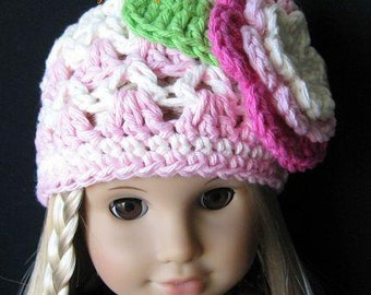 PATTERN in PDF -- Crocheted Doll Hat Flapper Beanie for American girl, Gotz, Blythe or similar 15 to 18 inches dolls -- Doll Hat 22