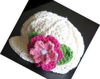 PATTERN in PDF -- Crocheted newsgirl/newsboy visor beanie/hat/cap with a rose -- 12 - 24 months and 2T - 4T