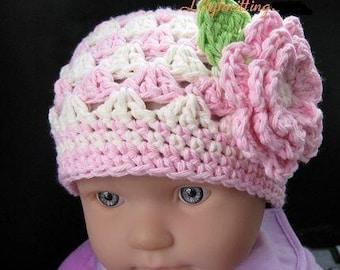 PATTERN in PDF crocheted baby Flower flapper beanie (Flapper Beanie 19) -- Newborn